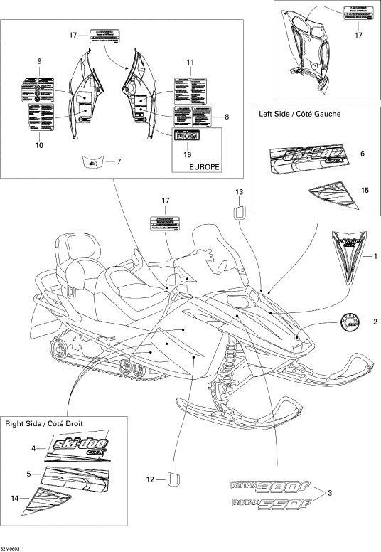 2005 Ski Doo  GTX 380F Decals 380F Parts